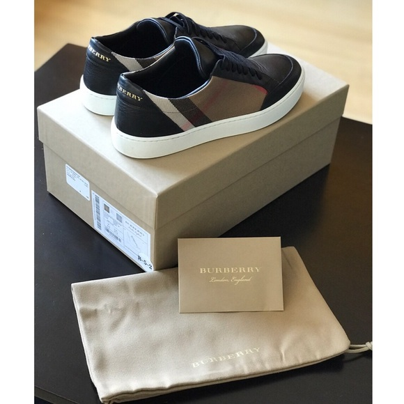 Burberry Check Detail Leather Sneakers